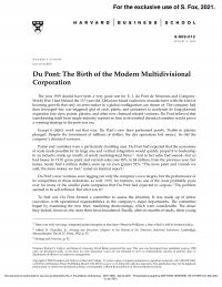 Du Pont: The Birth of the Modern Multidivisional Corporation