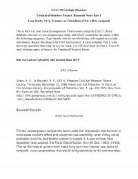 Unnatural Disasters Project: Research Notes Part 1