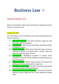 Business law: INDIAN CONTRACT ACT