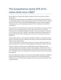 The Susquehanna nearly 92% of its native birds since 1960?